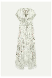 Camilla - Asymmetric Embellished Printed Silk Wrap Maxi Dress - White