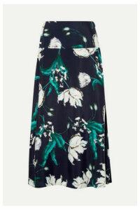Erdem - Elvin Floral-print Crepe Midi Skirt - Navy