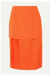 Mugler - Asymmetric Layered Crepe And Satin Skirt - Orange