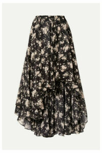 Michael Kors Collection - Asymmetric Floral-print Silk-chiffon Midi Skirt - Black