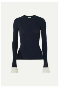 Chloé - Organza-trimmed Ribbed-knit Sweater - Navy