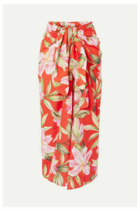 Mara Hoffman - + Net Sustain Izzi Floral-print Organic Cotton-voile Midi Skirt - Bright orange