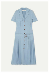 Victoria, Victoria Beckham - Pleated Crepe Shirt Dress - Blue