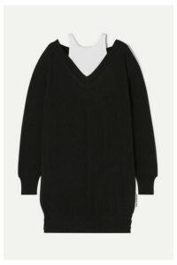 alexanderwang.t - Layered Merino Wool And Ribbed Stretch Cotton-jersey Mini Dress - Black
