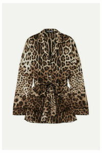 Dolce & Gabbana - Belted Leopard-print Stretch-silk Blouse - Brown