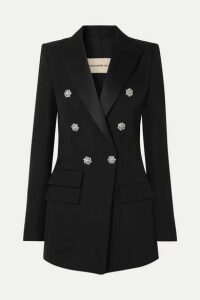 Alexandre Vauthier - Crystal-embellished Double-breasted Grain De Poudre Wool Blazer - Black
