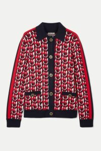 Miu Miu - Wool-blend Jacquard-knit Cardigan - Navy