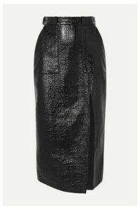 David Koma - Coated Cotton-blend Midi Skirt - Black