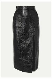 David Koma - Coated Cotton-blend Midi Skirt - Black