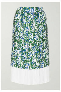 Victoria, Victoria Beckham - Pleated Printed Twill Midi Skirt - Green
