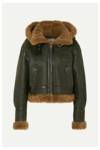 Chloé - Cropped Hooded Shearling Jacket - Army green