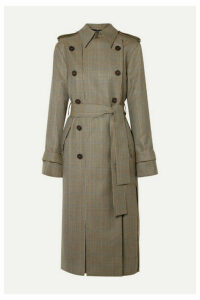 Rokh - Double-breasted Paneled Houndstooth Wool Trench Coat - Beige
