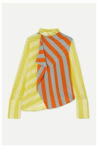 JW Anderson - Draped Striped Silk Crepe De Chine Top - Yellow