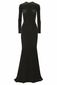 Balenciaga - Polka-dot Stretch-velvet Gown - Black