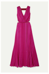 Zeus+Dione - Rosa Cutout Silk-blend Jacquard Wrap Dress - Magenta