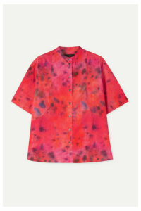 Rokh - Tie-dyed Cotton-poplin Shirt - Bright pink