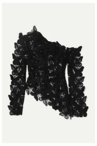 David Koma - Asymmetric Embellished Cotton Macramé Top - Black