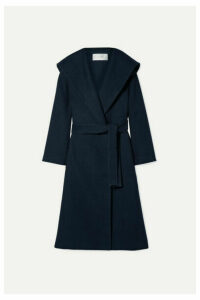 The Row - Riona Oversized Hooded Belted Cotton And Wool-blend Coat - Navy
