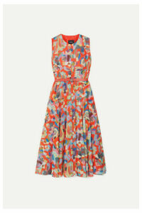 Akris - Belted Printed Cotton Midi Dress - Orange