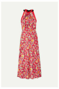 Saloni - Michelle Floral-print Silk-satin Halterneck Midi Dress - Red