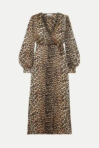 GANNI - Leopard-print Silk-blend Satin Wrap Dress - Leopard print