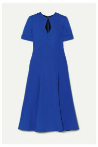 Emilia Wickstead - Ludovica Cutout Pleated Wool-crepe Midi Dress - Midnight blue