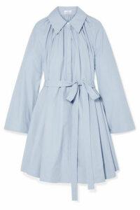 Co - Pleated Cotton-poplin Mini Dress - Light blue