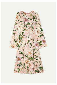 Dolce & Gabbana - Pleated Floral-print Crepe De Chine Midi Dress - Pink