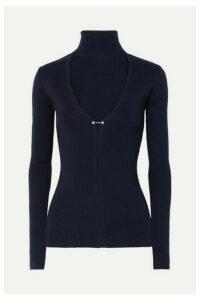 Dion Lee - Embellished Cutout Merino Wool-blend Turtleneck Sweater - Navy