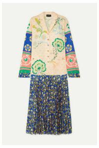 Saloni - Sonia Pleated Jacquard Midi Dress - Blue