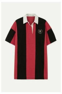 Alexander Wang - Oversized Embellished Striped Cotton-jersey Polo Shirt - Red
