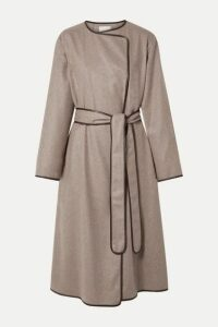 The Row - Helga Leather-trimmed Cashmere Coat - Mushroom