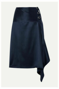 Sies Marjan - Tamiko Draped Wrap-effect Satin-twill Midi Skirt - Navy