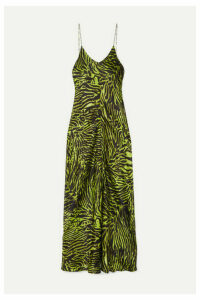 GANNI - Tiger-print Stretch-silk Satin Maxi Dress - Green