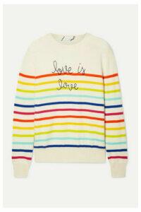 Lingua Franca - Love Is Love Embroidered Striped Cashmere Sweater - Cream