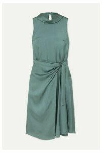 Brunello Cucinelli - Twisted Silk-twill Dress - Dark green