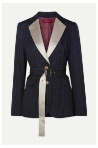 Sies Marjan - Terry Belted Satin-trimmed Pinstriped Wool-blend Twill Blazer - Midnight blue