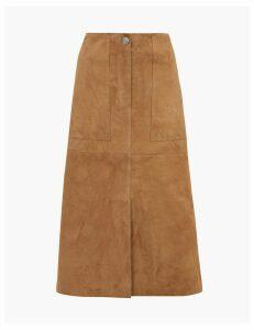 Per Una Suede A-Line Midi Skirt