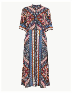 M&S Collection Scarf Placement Print Shirt Midi Dress