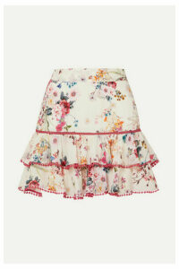 Charo Ruiz - Fera Ruffled Crocheted Lace And Floral-print Voile Mini Skirt - White