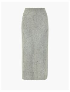 Autograph Pure Cashmere Ribbed Knit Midi Skirt