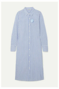 Alex Mill - Standard Appliquéd Striped Cotton-voile Midi Dress - Blue