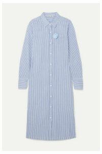 Alex Mill - Standard Appliquéd Striped Cotton-voile Midi Dress - Blue