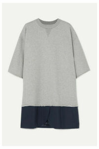 MM6 Maison Margiela - Oversized Cotton-jersey And Pinstriped Crepe Mini Dress - Gray