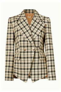 Michael Kors Collection - Double-breasted Checked Wool Blazer - Neutral