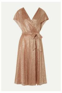 Alice + Olivia - Darva Wrap-effect Lamé Dress - Antique rose
