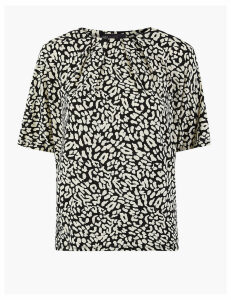 M&S Collection Animal Print Pleat Neck Short Sleeve Top