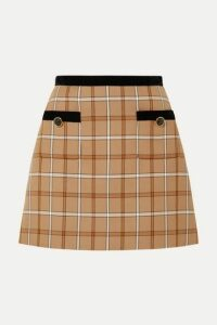 Miu Miu - Velvet-trimmed Checked Woven Mini Skirt - Beige
