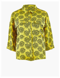 M&S Collection PETITE Printed 3/4 Sleeve Shirt