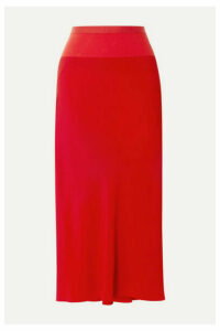 Rick Owens - Ribbed Knit-trimmed Crepe De Chine Midi Skirt - Red